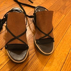Free People Bowery Ankle Tie Wedge Sandals Size 37